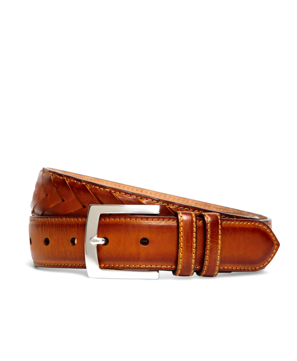 brothers fish braided leather belt in brown