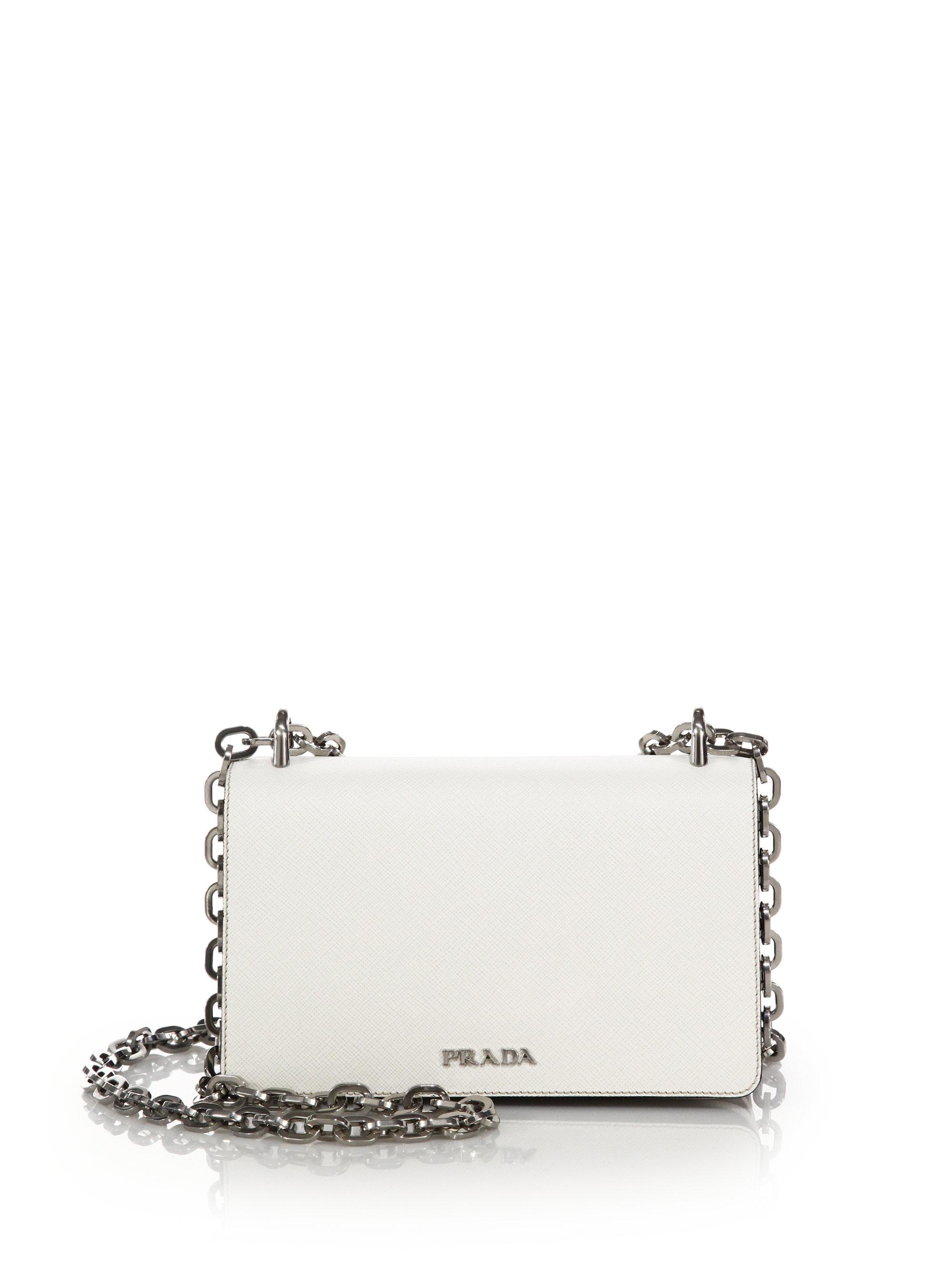 f0f8b2e3efae Lyst - Prada Tessuto   Saffiano Bicolor Chain Bag in White