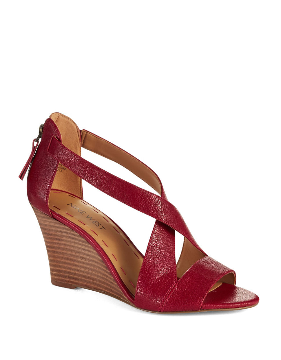 Nine West Fichel Strappy Wedge Sandals In Red Red Apple