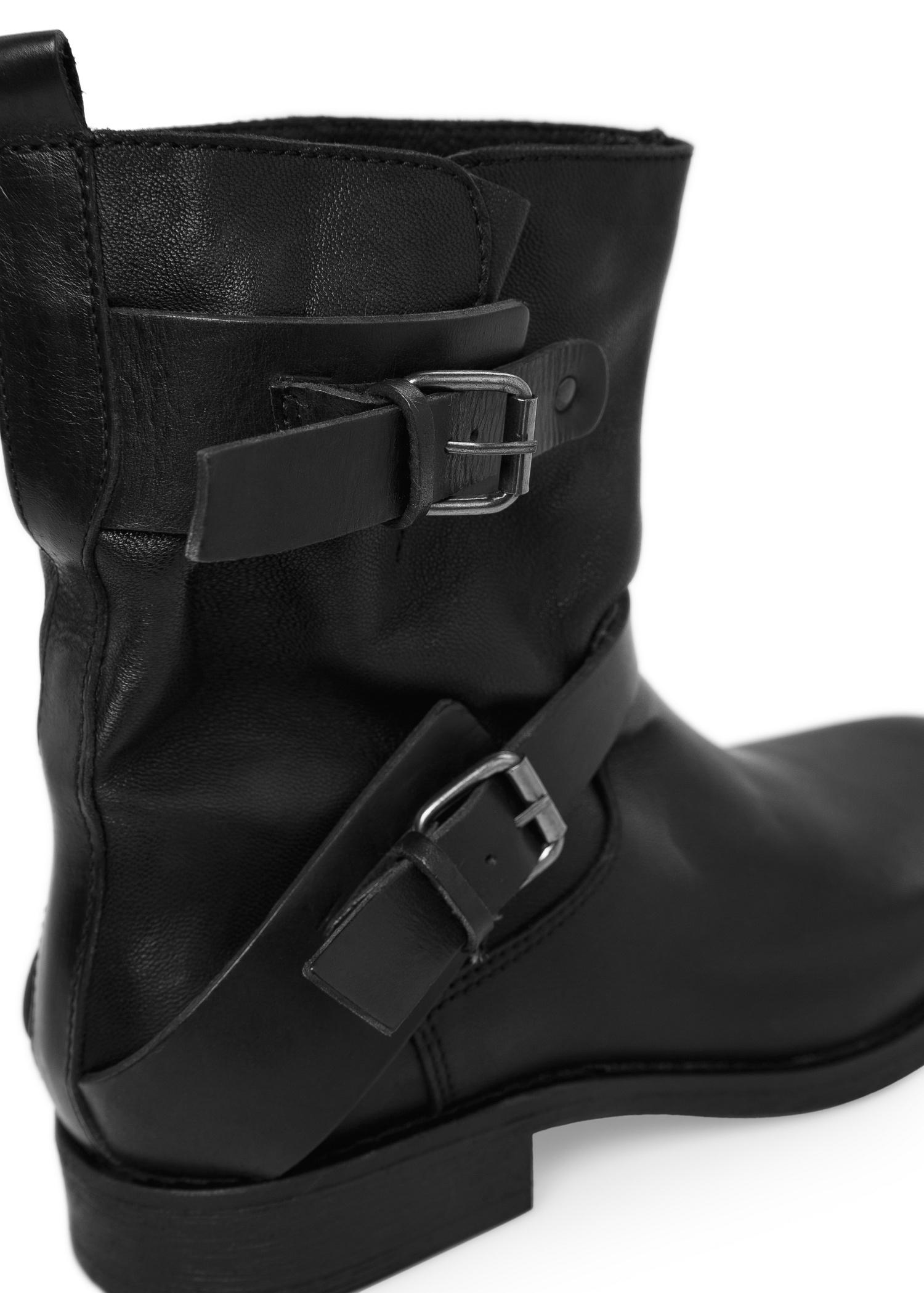 18f8bffb267 Mango Black Leather Biker Ankle Boots