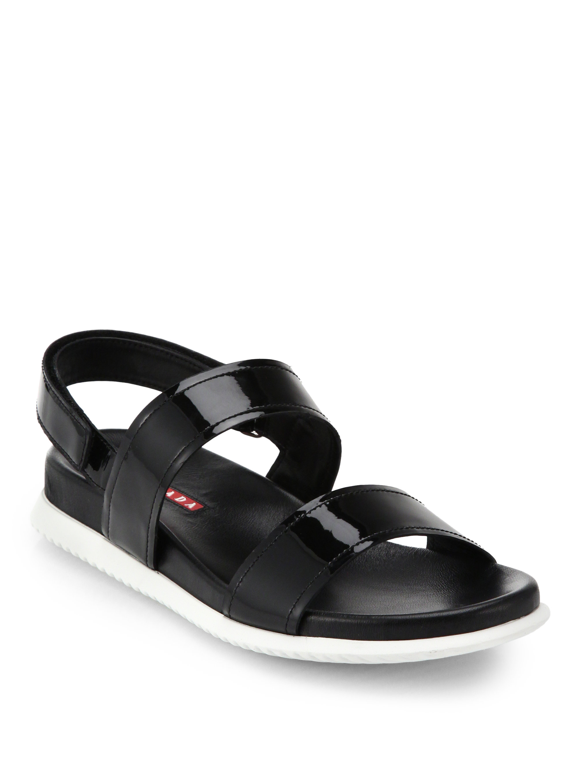 Lyst Prada Patent Leather Flat Sandals In Black