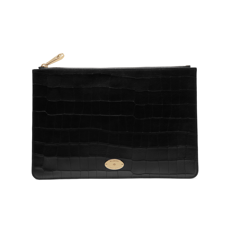 6e12fd0af178 Lyst - Mulberry Medium Flat Pouch in Black
