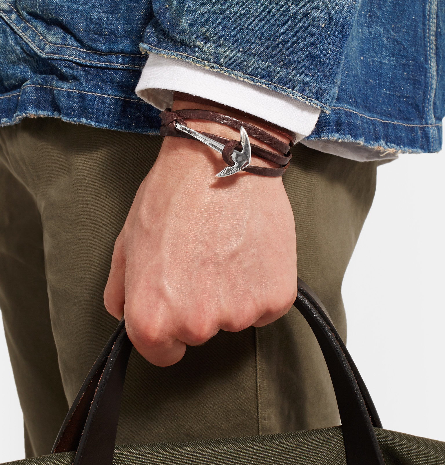 Miansai Anchor Leather Wrap Bracelet - Black vL6ios