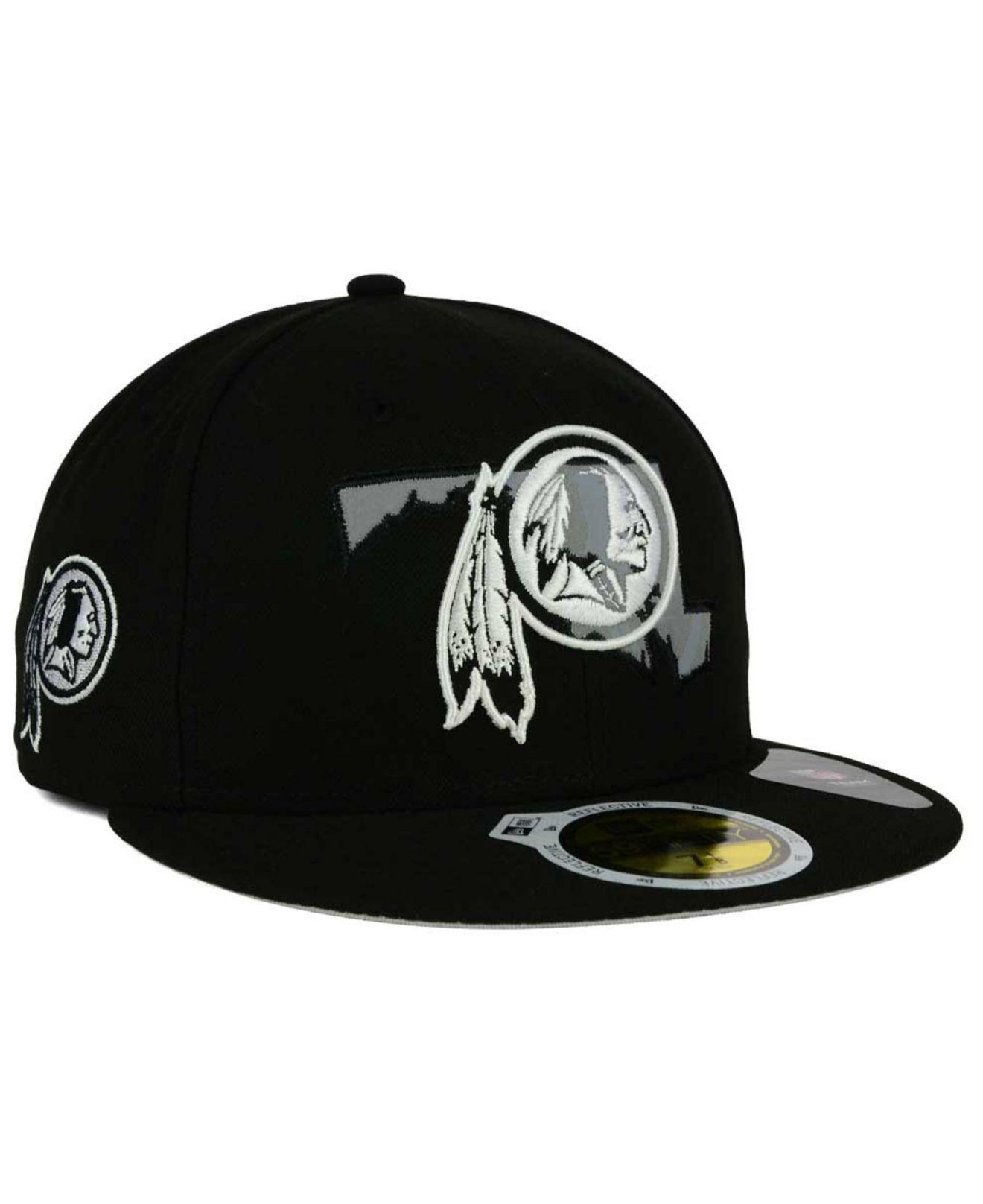 premium selection dcbd5 e491e KTZ Washington Redskins State Flective Redux 59fifty Cap in Black ...