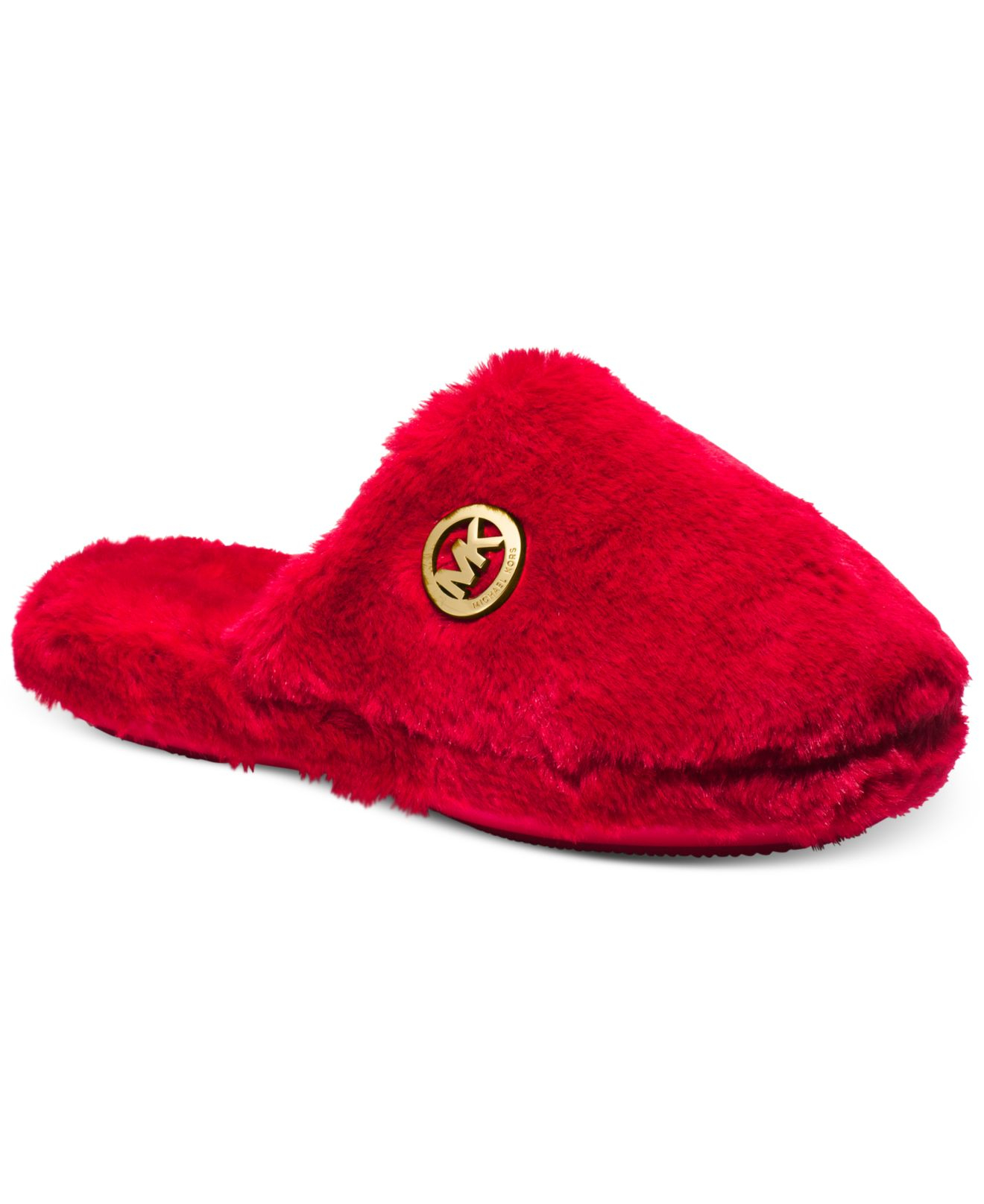 Mk Faux-Fur Slippers in Red