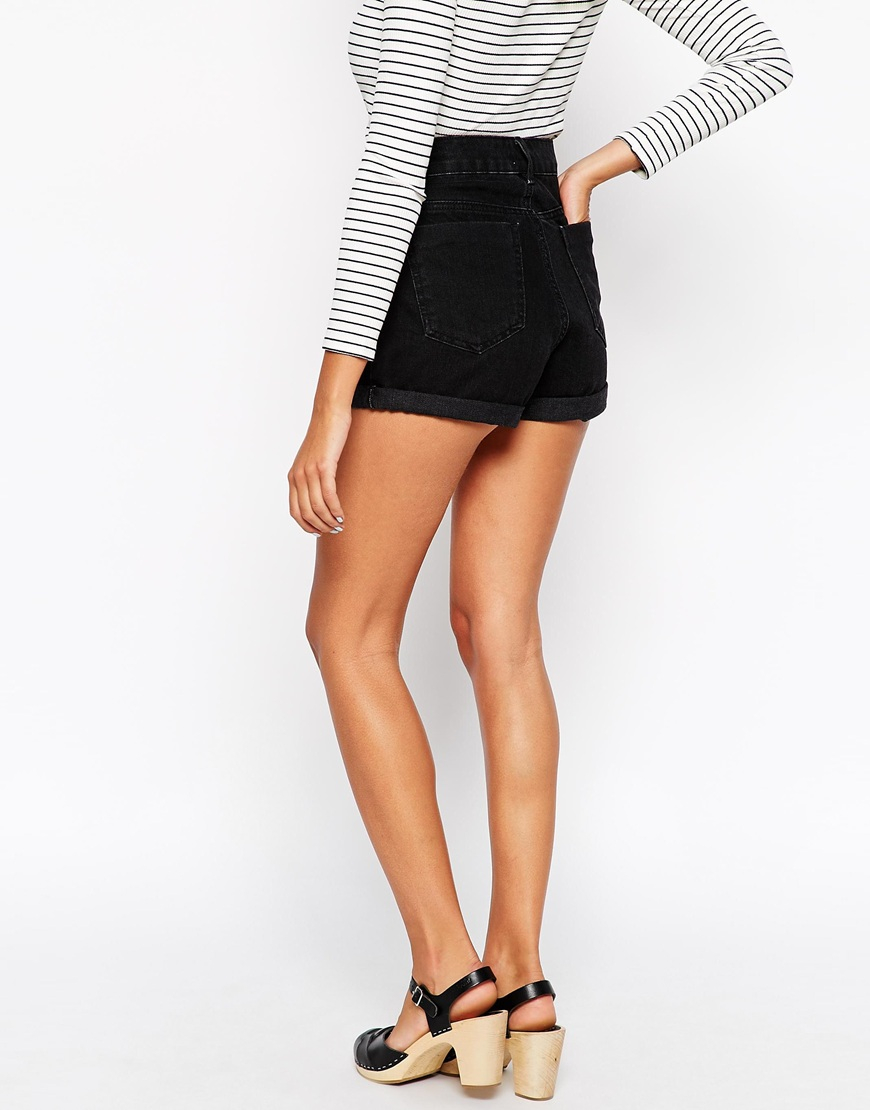 Asos High Waist Denim Mom Shorts In Black in Black | Lyst