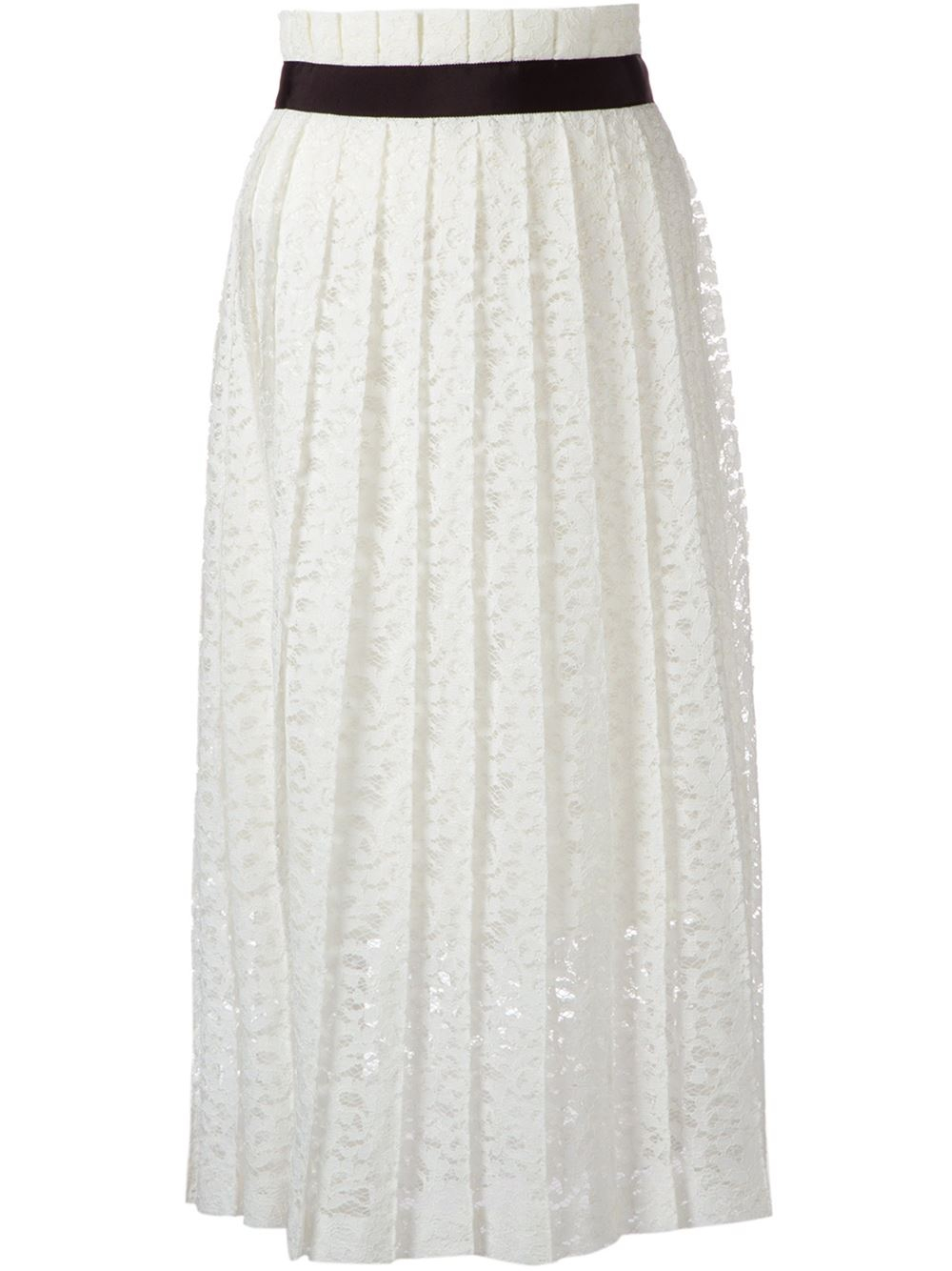 le ciel bleu pleated lace skirt in white lyst