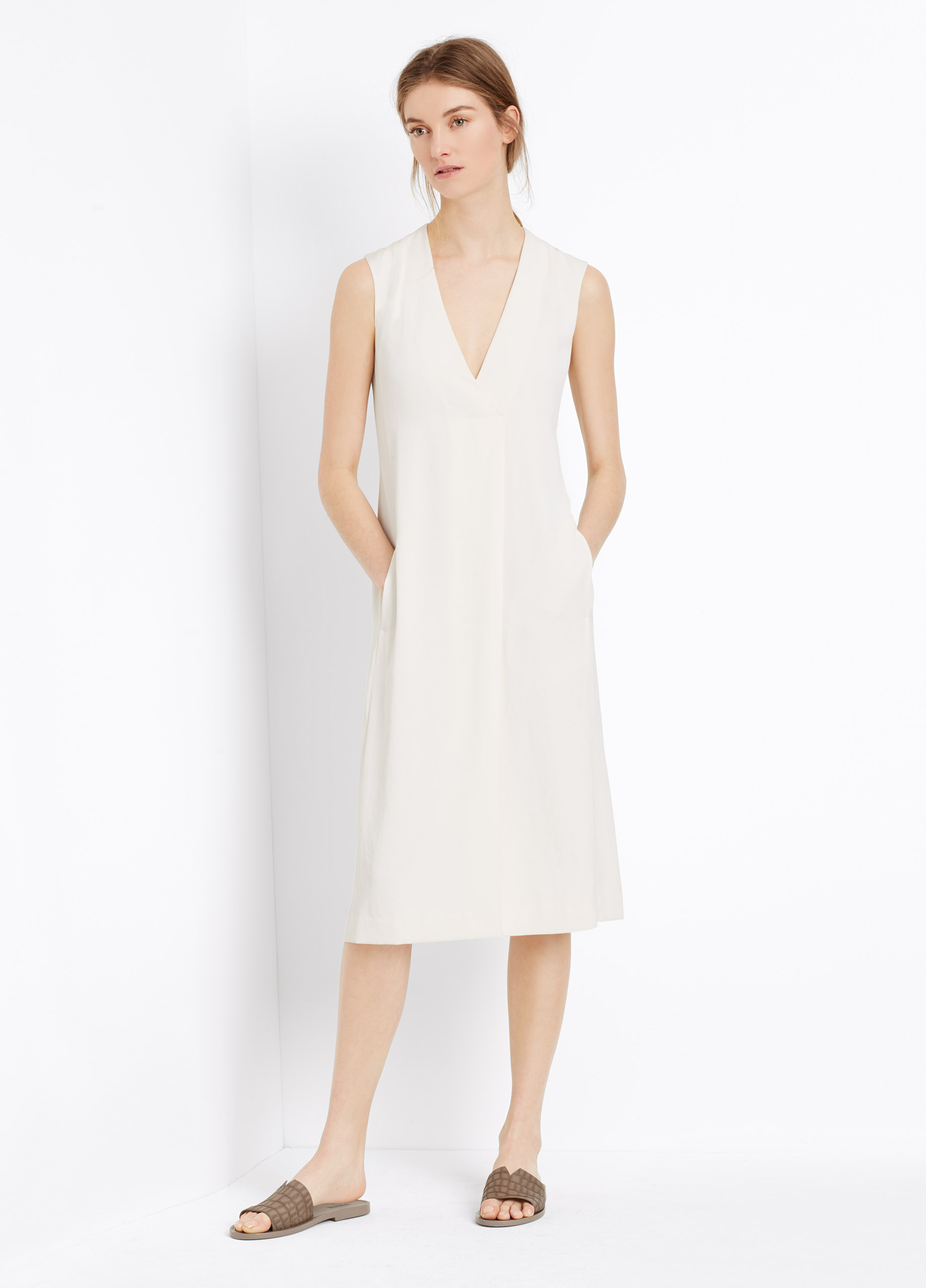 Vince Front Pleat V-neck Dress in White | Lyst