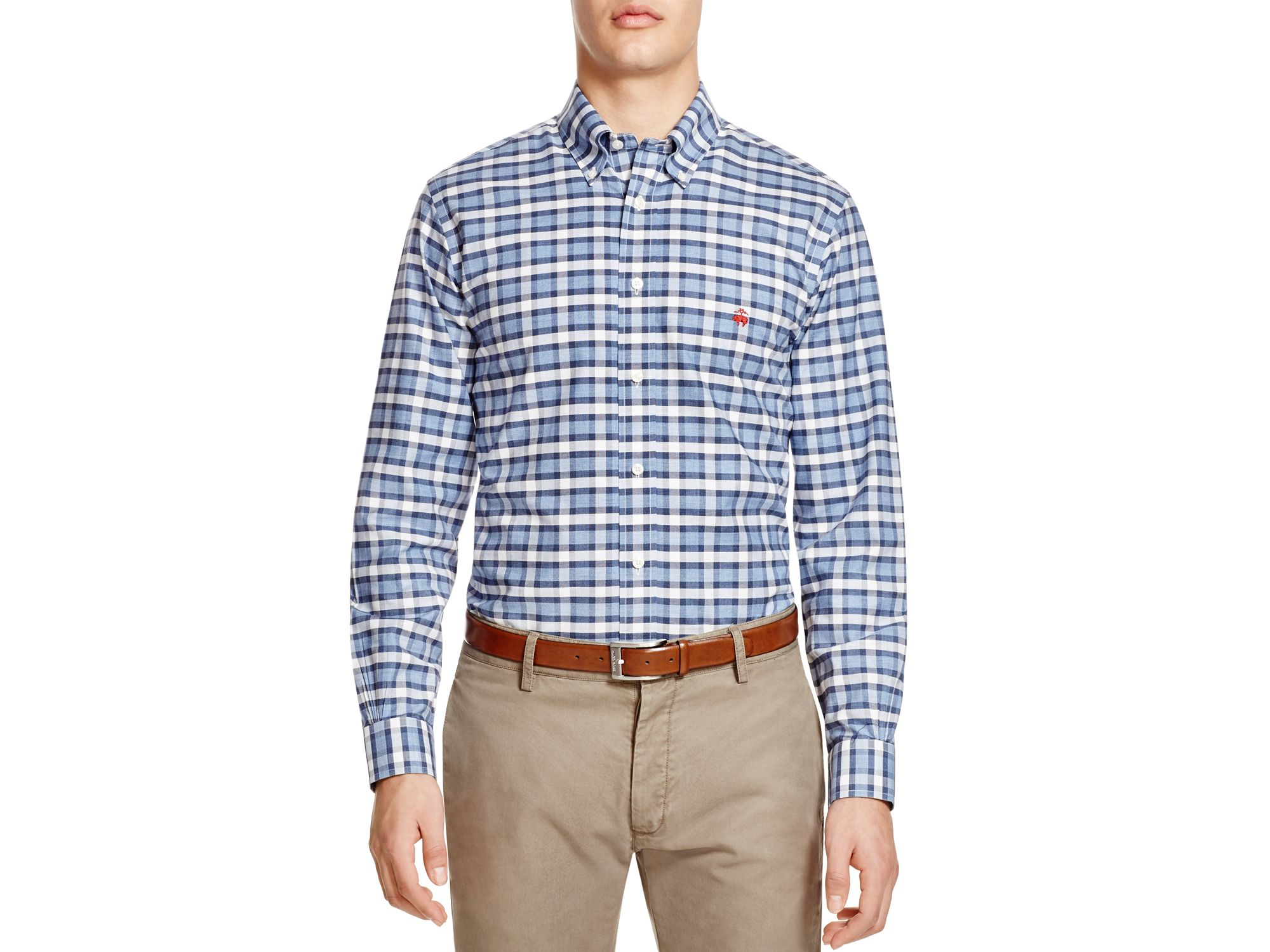 Brooks brothers non iron milano fit heathered check sport for Brooks brothers sports shirts