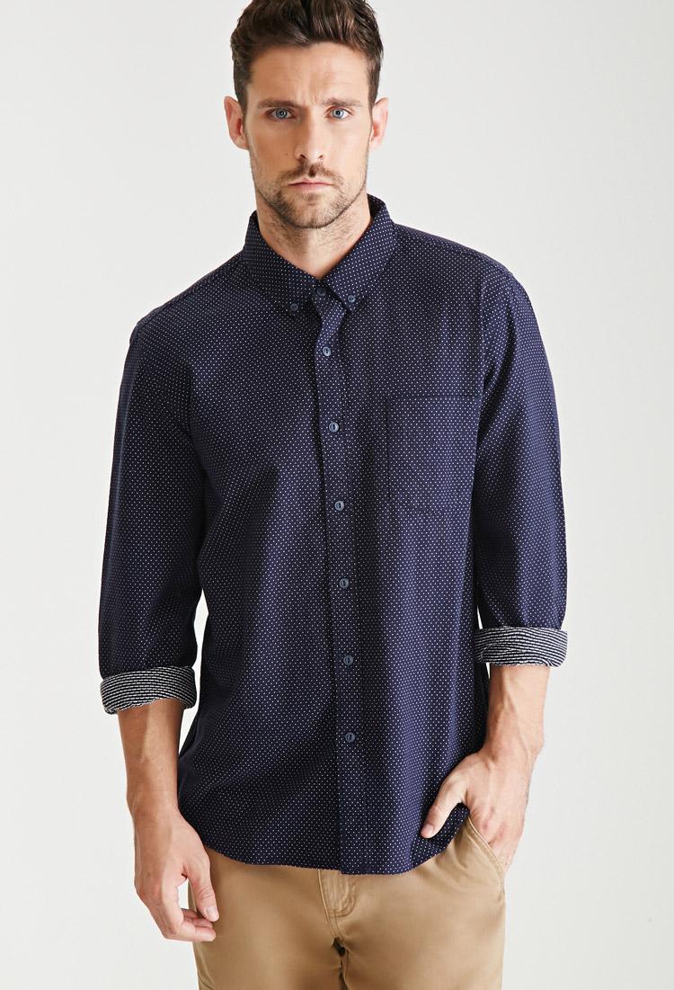 Forever 21 pin dot oxford shirt in blue for men lyst for Mens blue oxford shirt