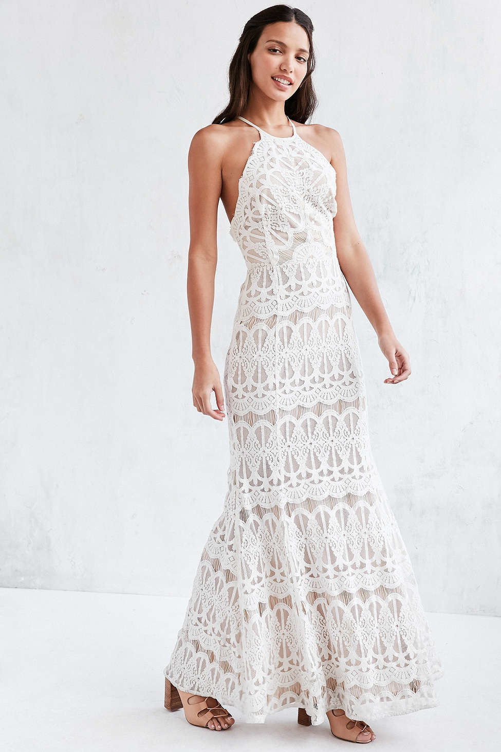 Glamorous Lace Halter Maxi Dress In White Lyst