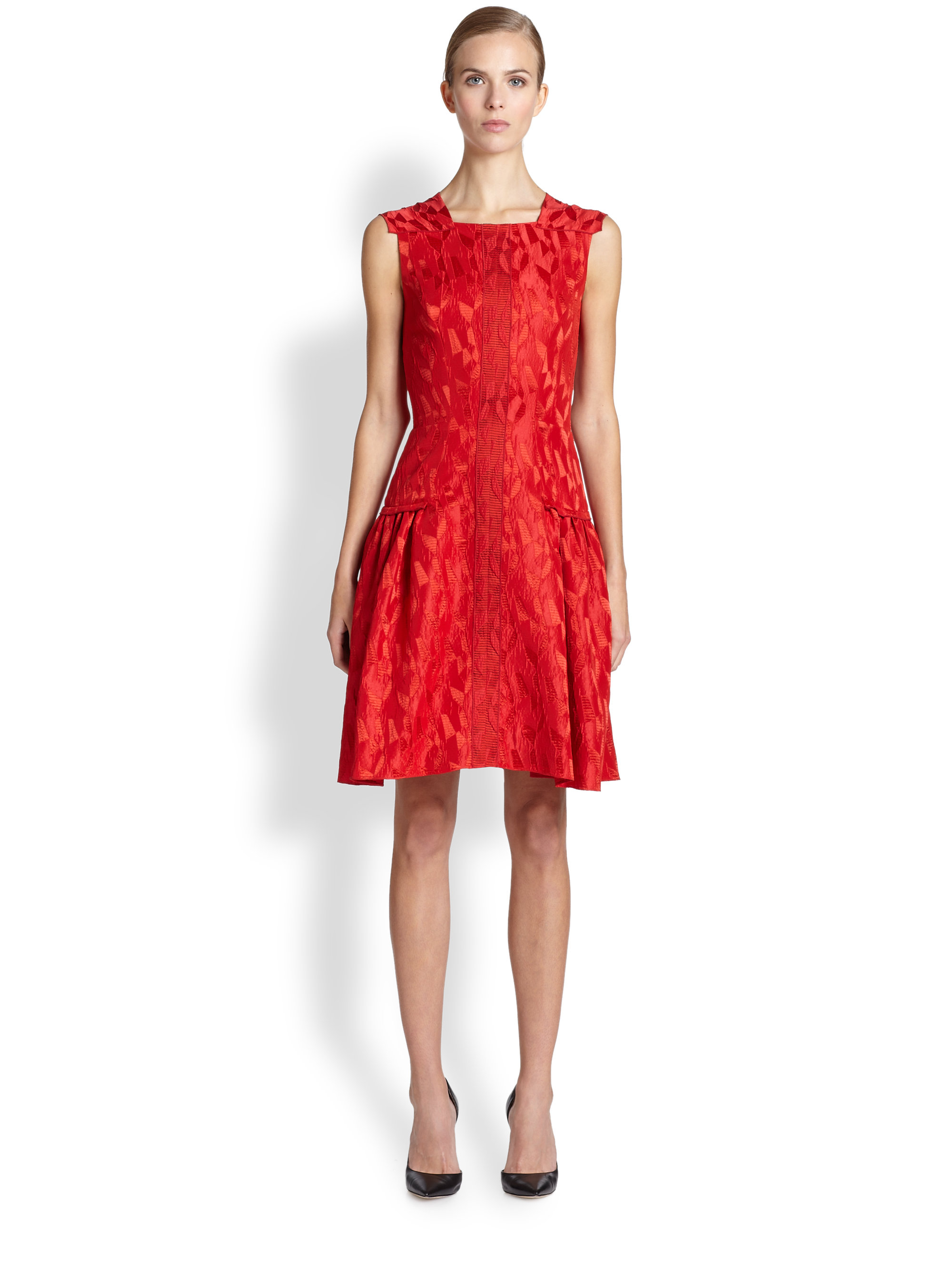 Prabal gurung Sleeveless Flared Dress in Red | Lyst