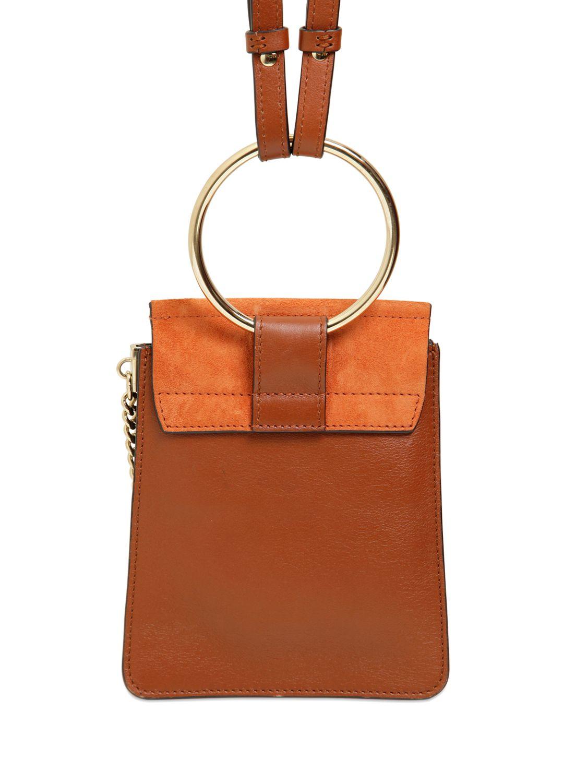 Chlo 233 Mini Faye Leather Amp Suede Shoulder Bag In Tobacco