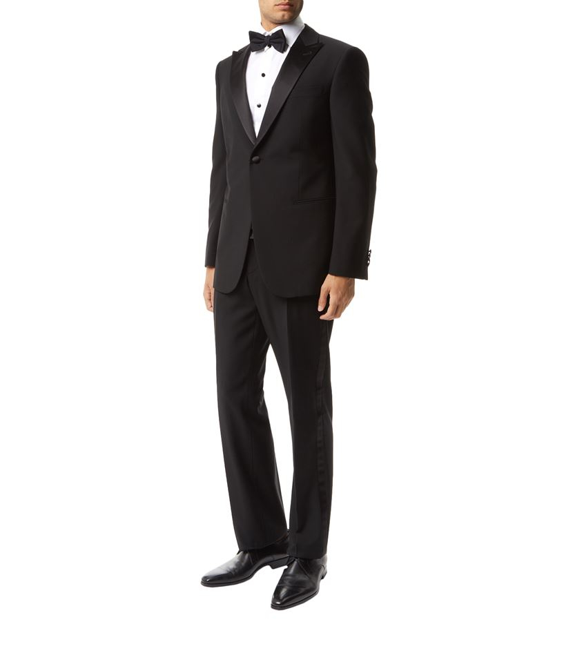 Giorgio armani Silk Lapel Wool Suit in Black for Men | Lyst