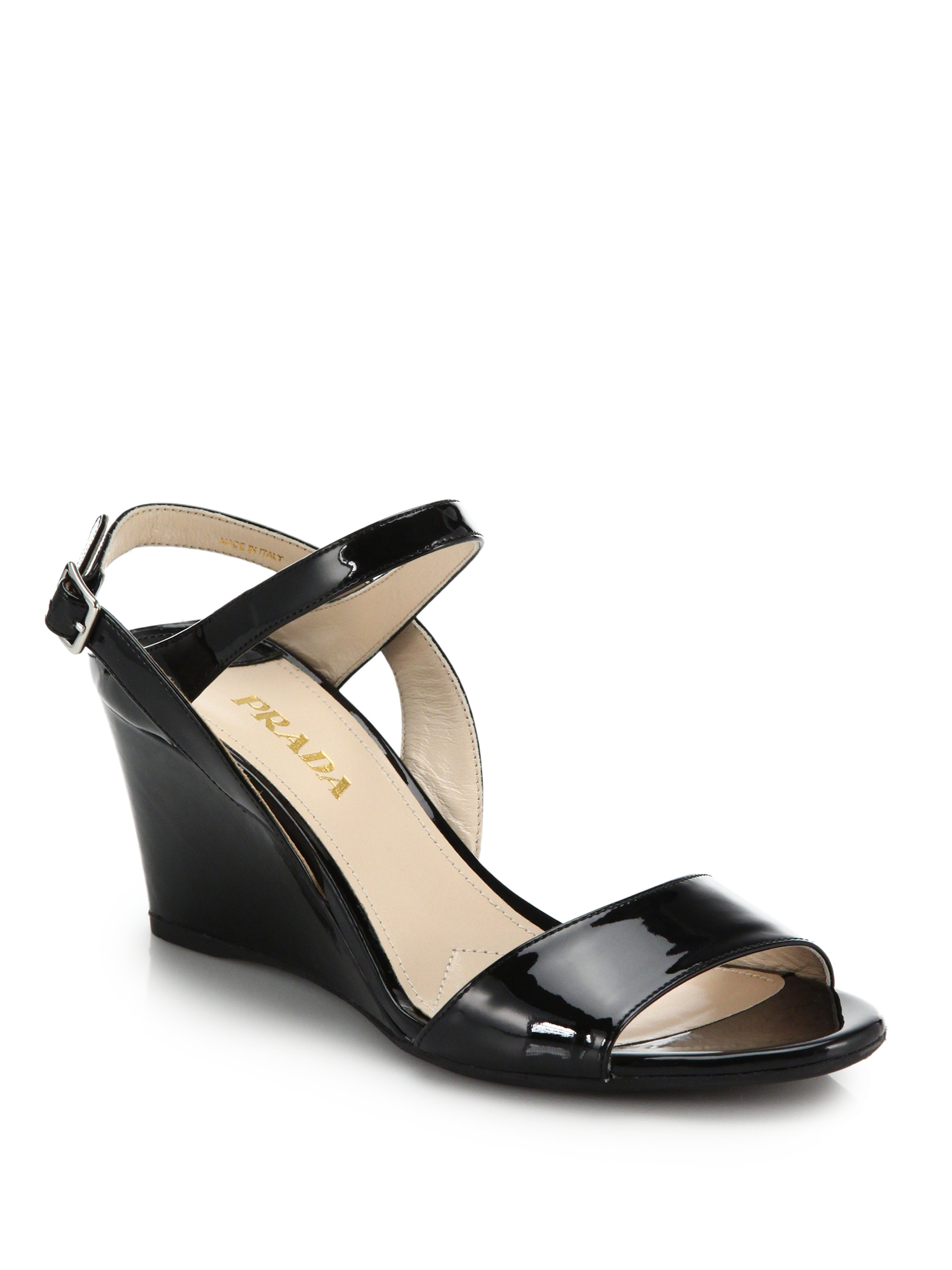 prada patent leather wedge sandals in black lyst