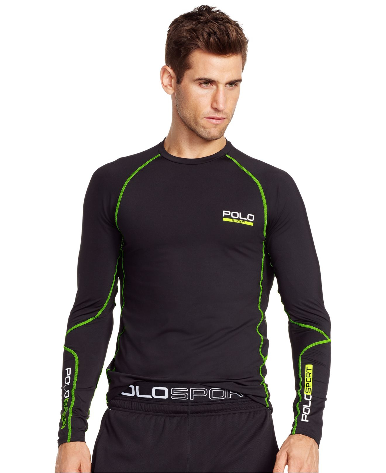 polo ralph lauren all sport compression shirt in black for. Black Bedroom Furniture Sets. Home Design Ideas