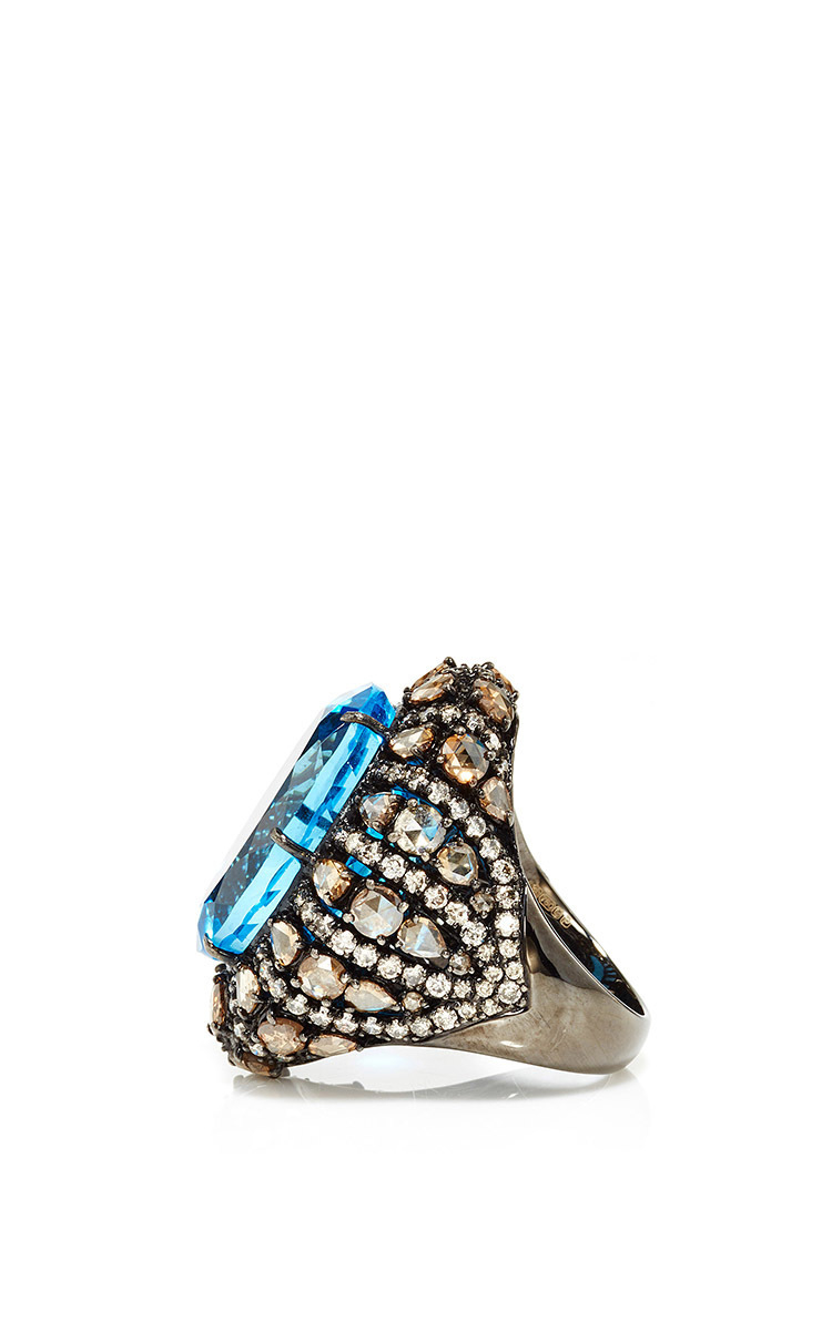 Sutra Blue Topaz Oval Ring In Blue Lyst