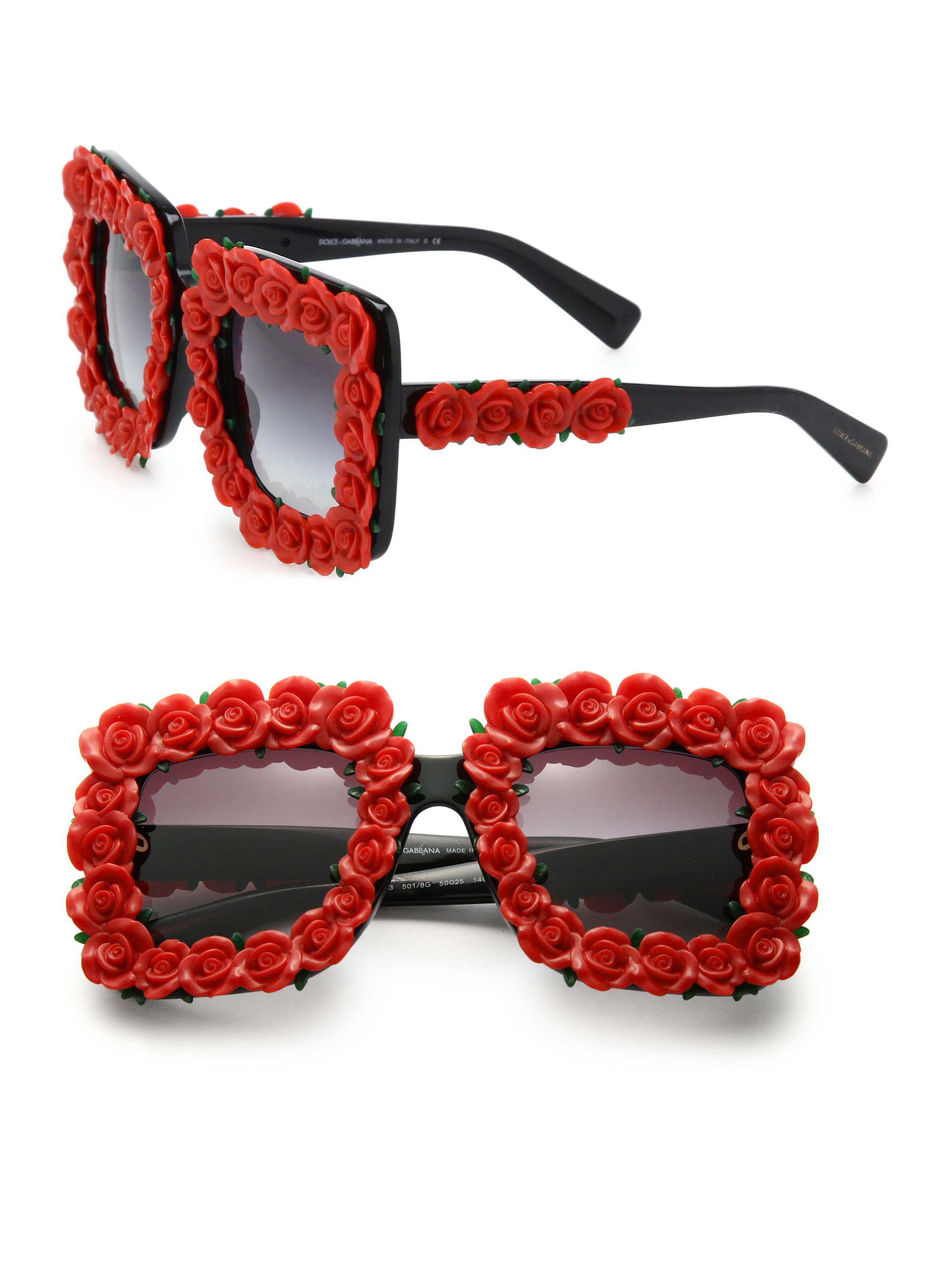 92304db70a78 Lyst - Dolce   Gabbana Floral Embellished 50mm Square Sunglasses in Red
