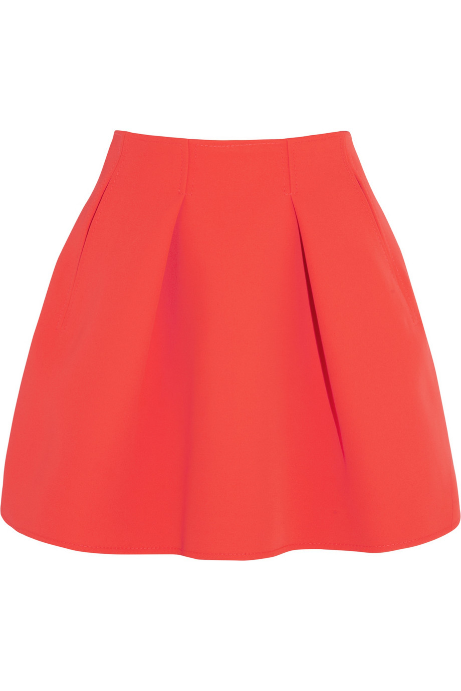 kenzo pleated neon neoprene mini skirt in orange lyst