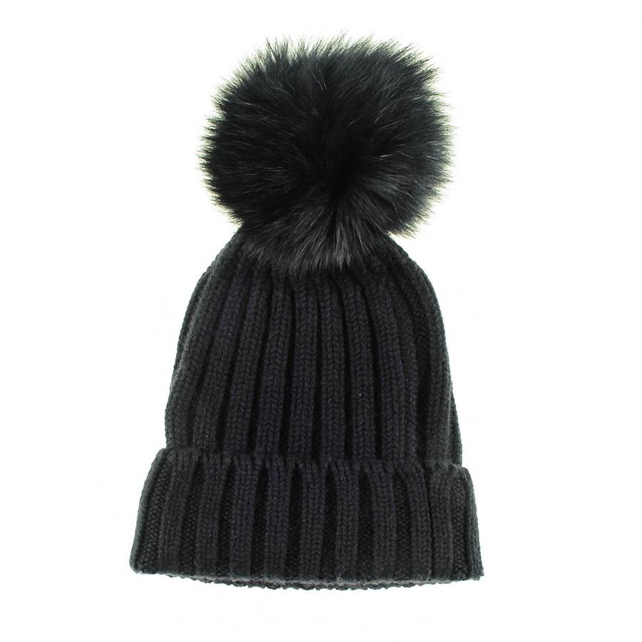 Black.co.uk Black Cashmere And Fur Pom Pom Beanie in Black ...