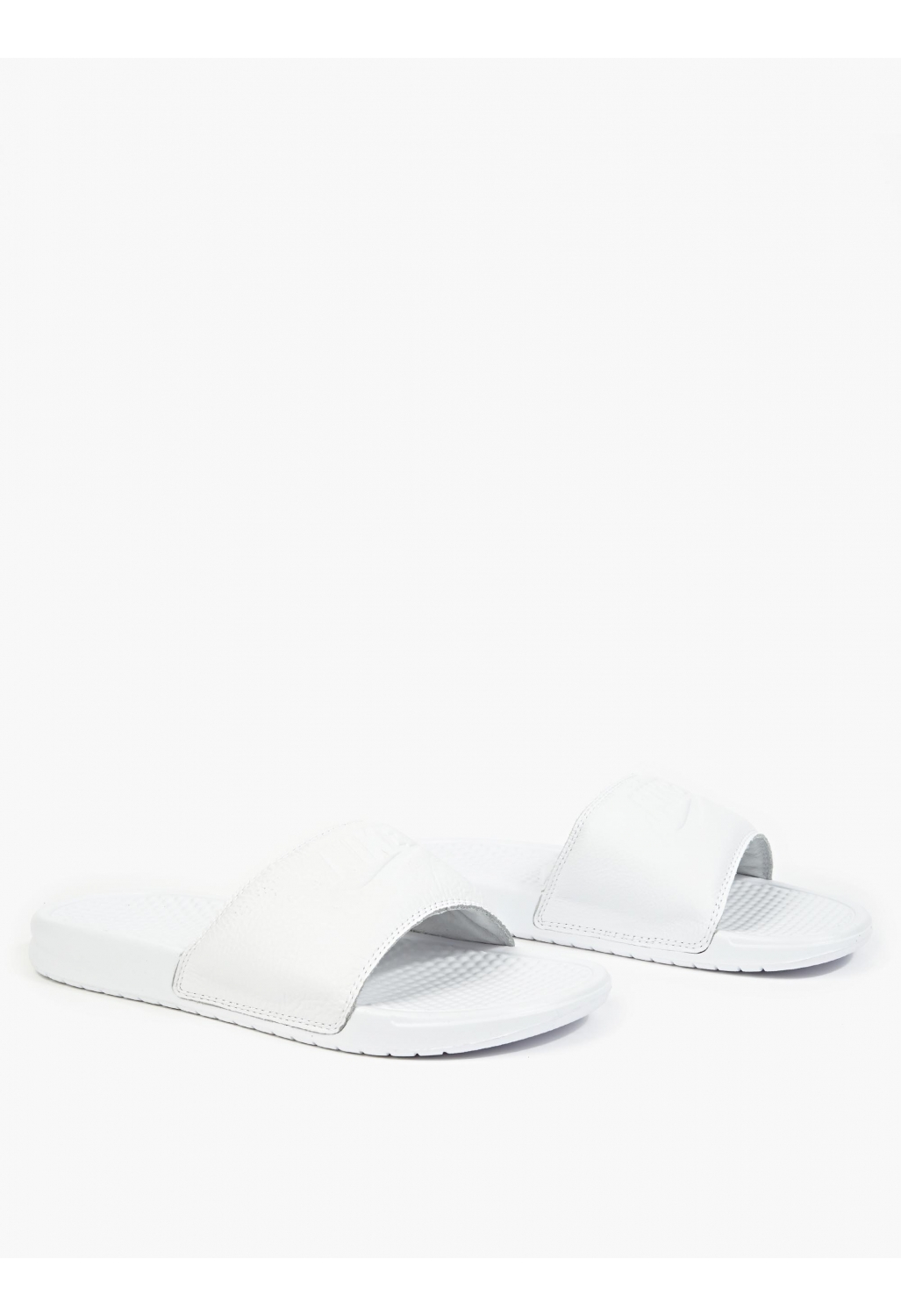 Nike Benassi JDI Leather Pool Slides in White for Men | Lyst
