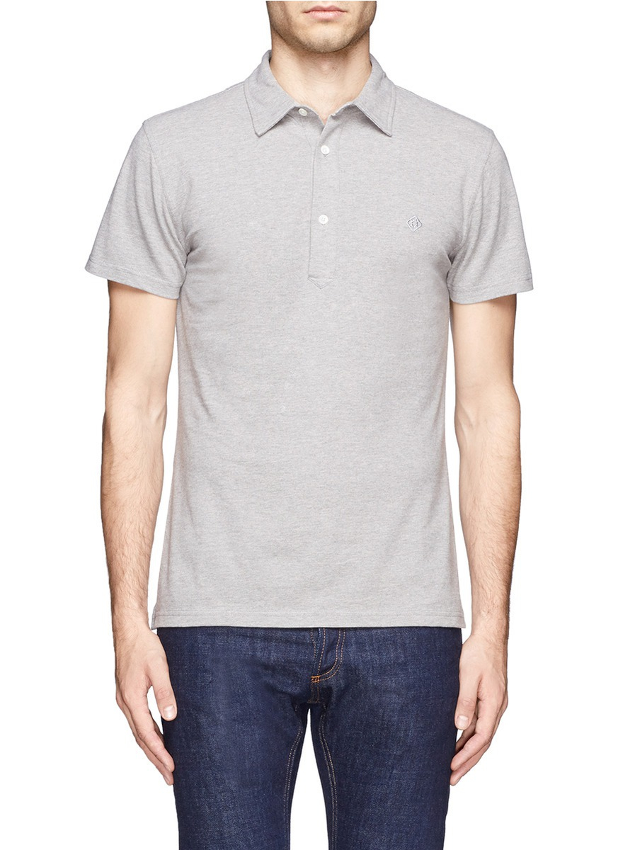 Lyst hardy amies cotton polo shirt in gray for men for Cotton polo shirts for men