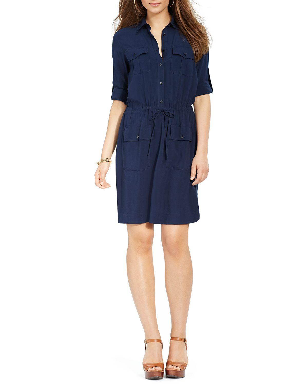 ralph lauren lauren drawstring shirt dress in blue lyst. Black Bedroom Furniture Sets. Home Design Ideas