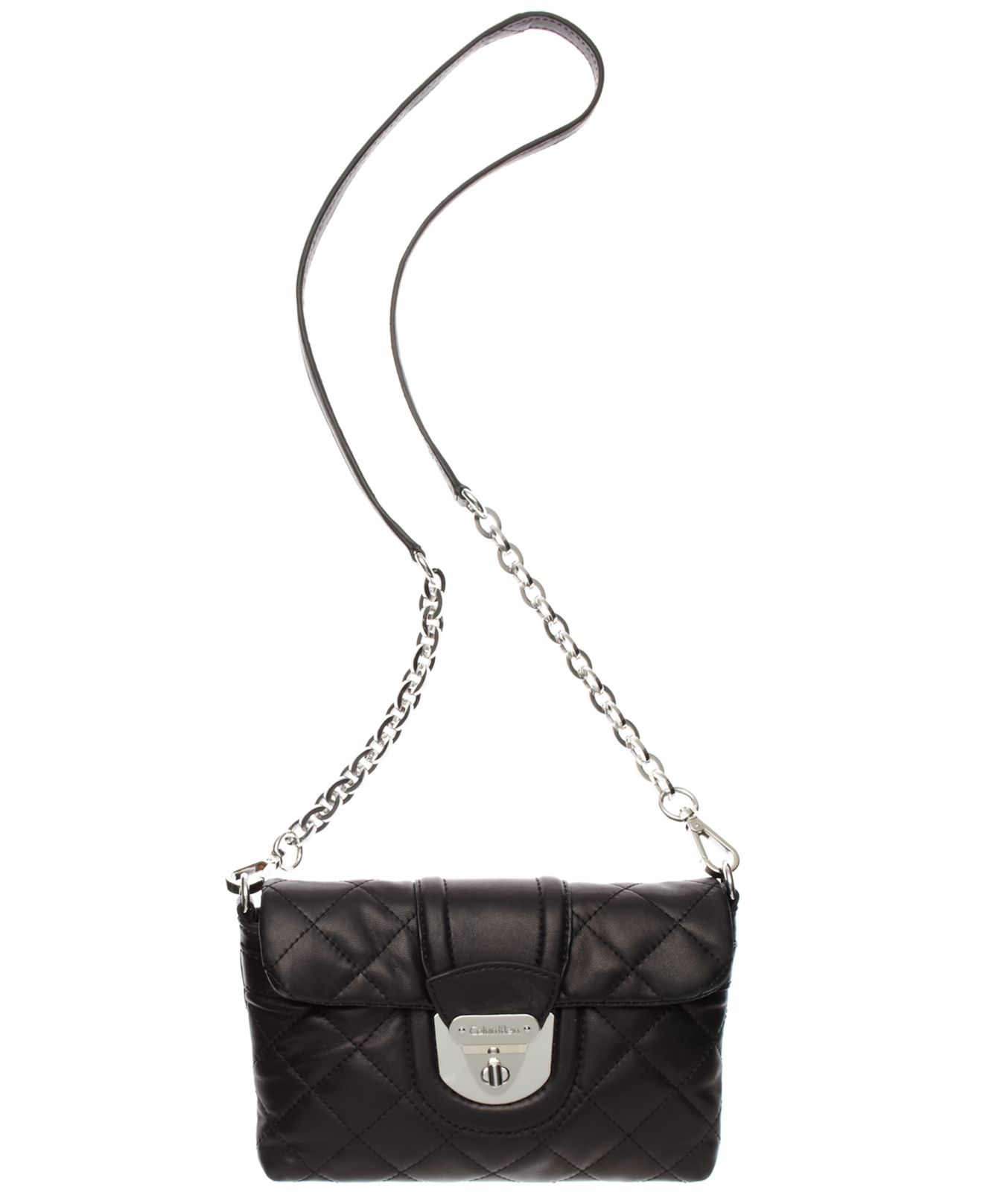 Calvin Klein Chelsea Quilted Lamb Crossbody Bag In Black
