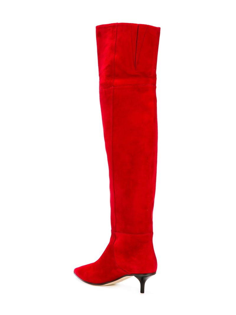 Jimmy Choo Suede 'Rise' Boots in Red