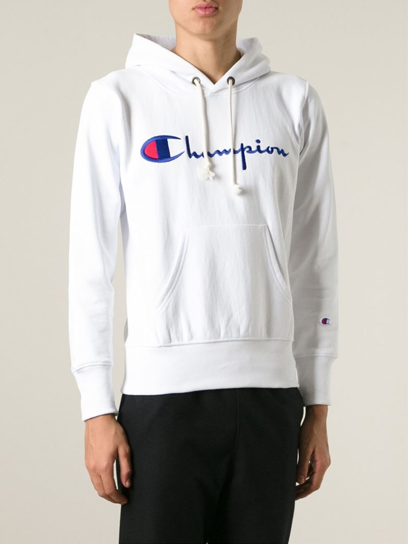Champion Logo Hoodie in White for Men | Lyst