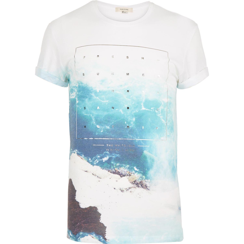 River island white sea foil print short sleeve t shirt in for Foil print t shirts custom