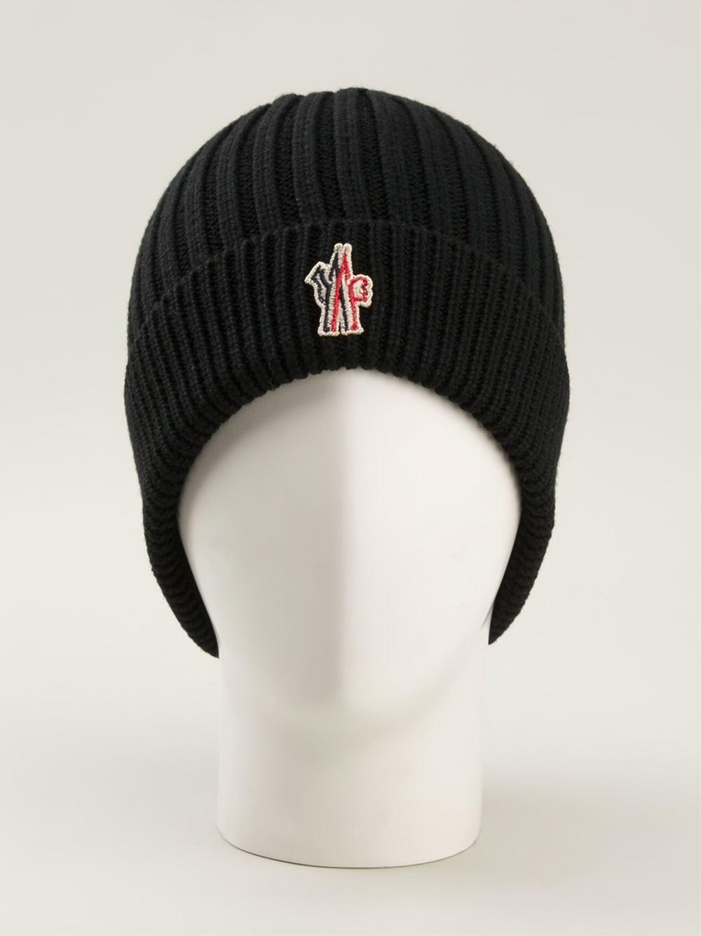 e723db74393 Lyst - Moncler Grenoble Logo Ribbed Beanie in Black for Men