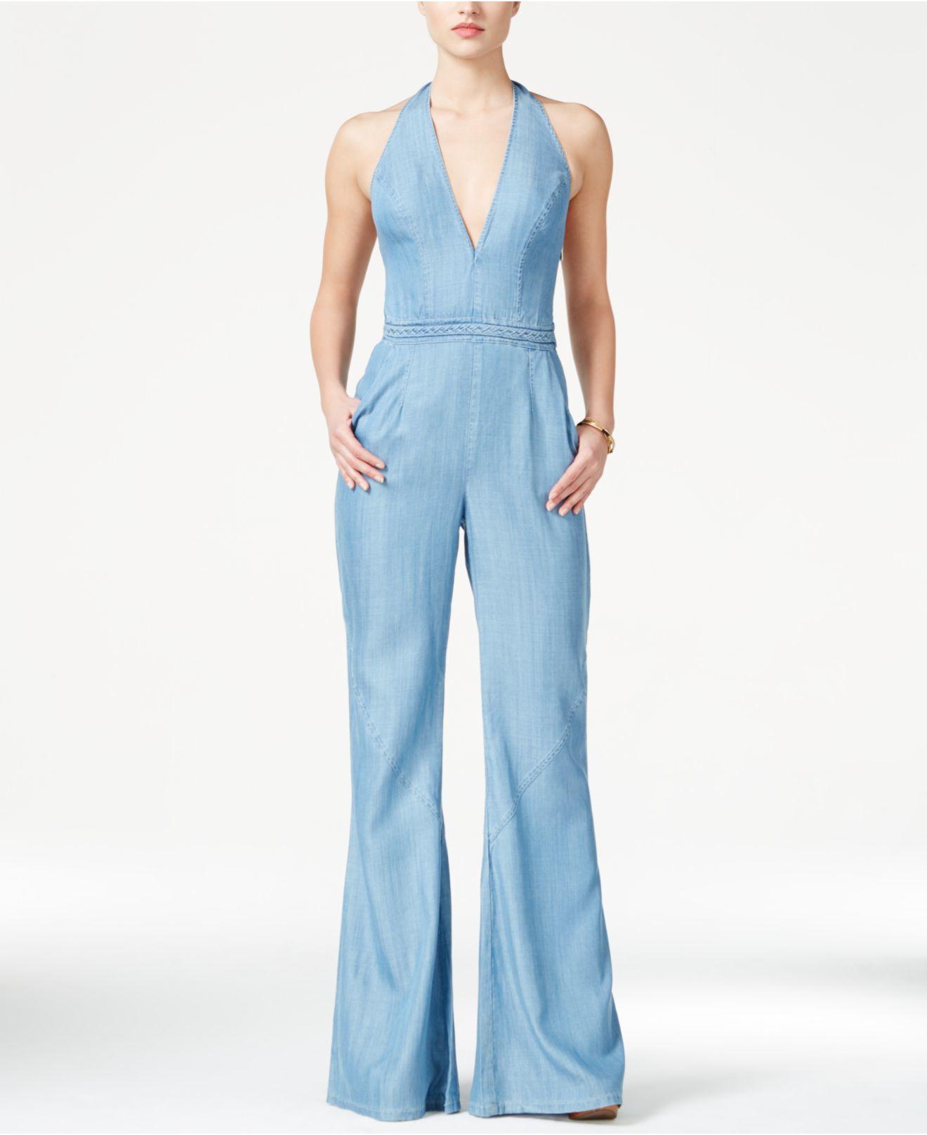 01064320e92 Lyst - Guess Wide-leg Denim Halter Jumpsuit in Blue