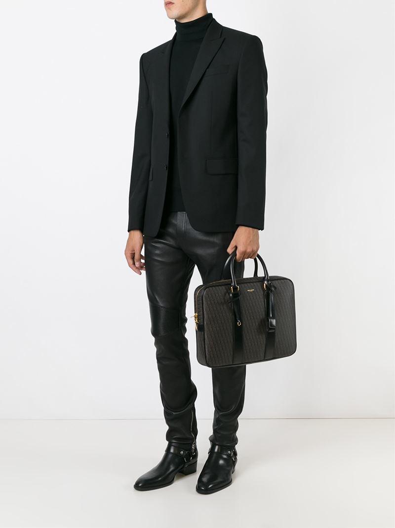 Saint laurent \u0026#39;monogram\u0026#39; Briefcase in Black for Men | Lyst