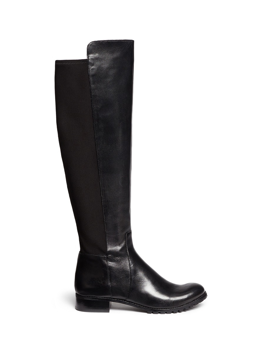 michael kors joanie stretchy leather knee high boots in