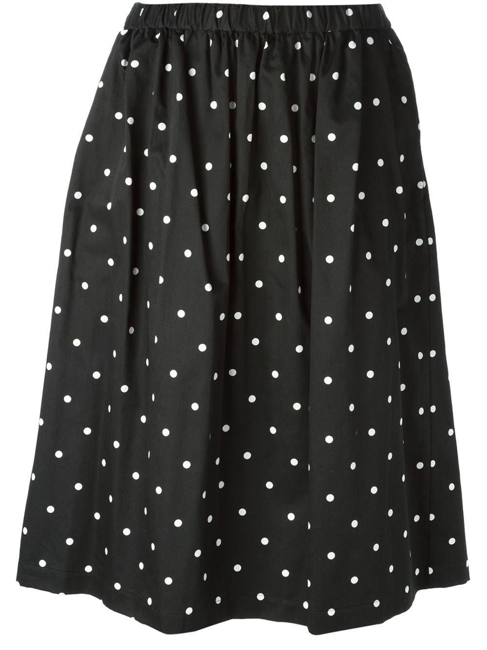 comme des gar 231 ons polka dot midi skirt in black lyst