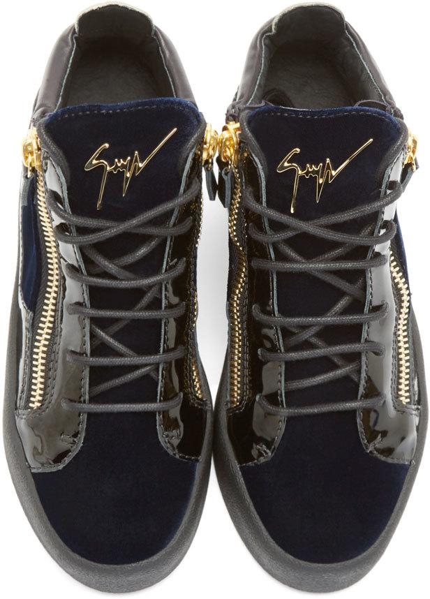 c8d62d75ca18 Lyst - Giuseppe Zanotti Navy Velvet Veronica Sneakers in Blue