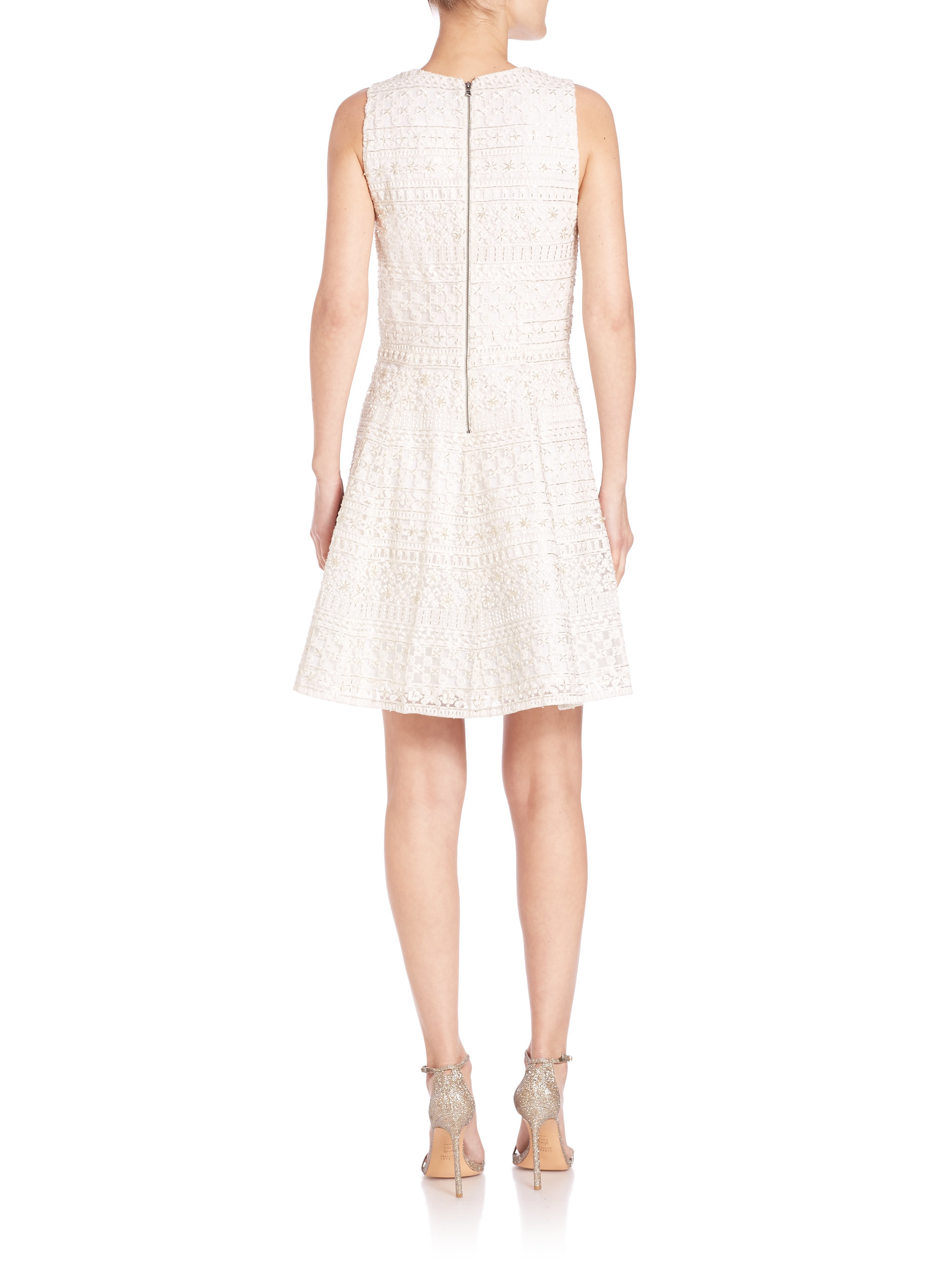 Alice olivia reba embroidered dress in white off