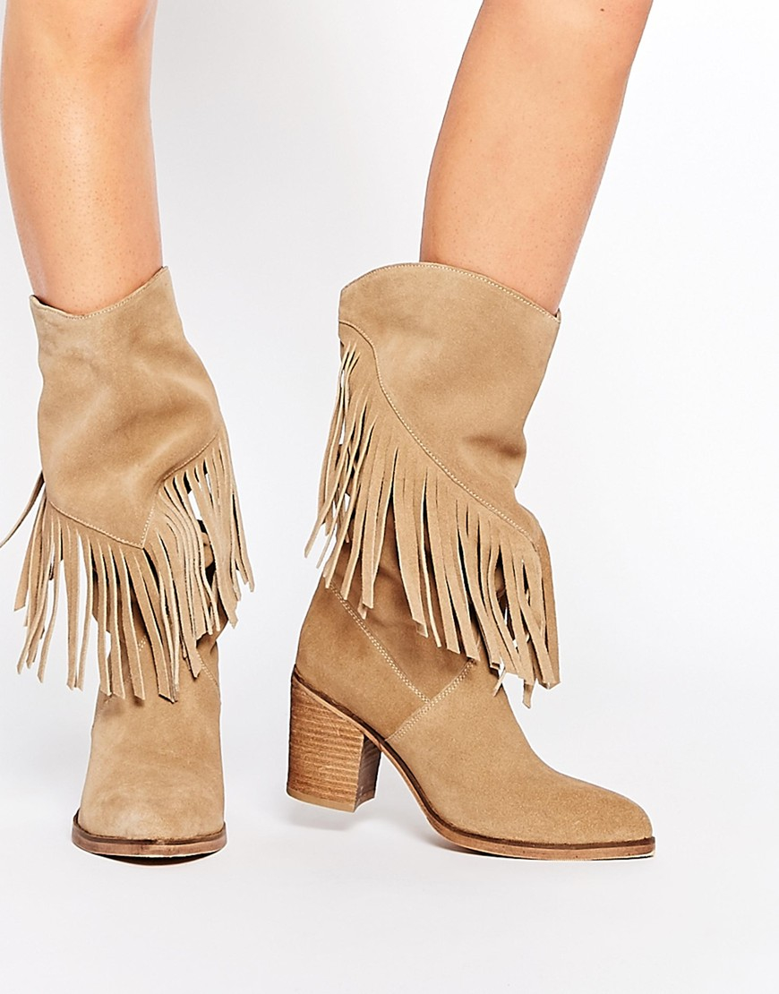 Asos Crazy Happy Suede Fringe Boots in Natural | Lyst