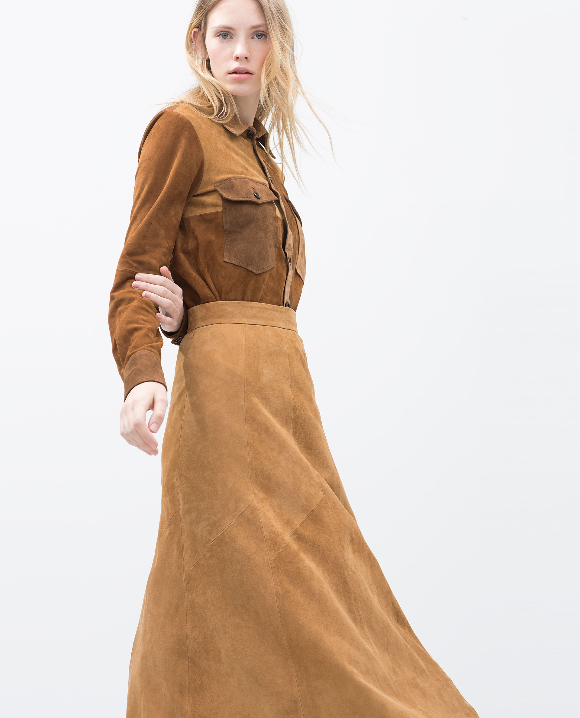 Zara Long Suede Skirt in Natural | Lyst