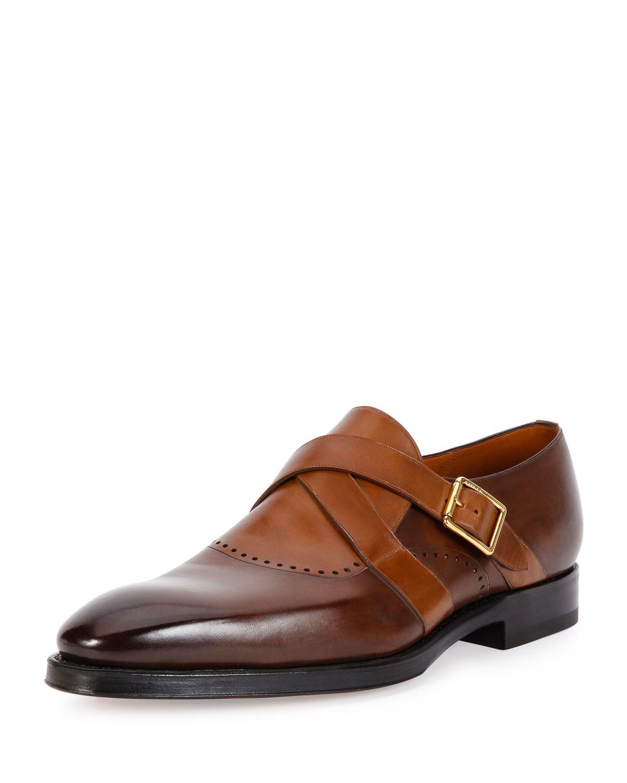 Mens Tan Double Monk Strap Dress Shoes