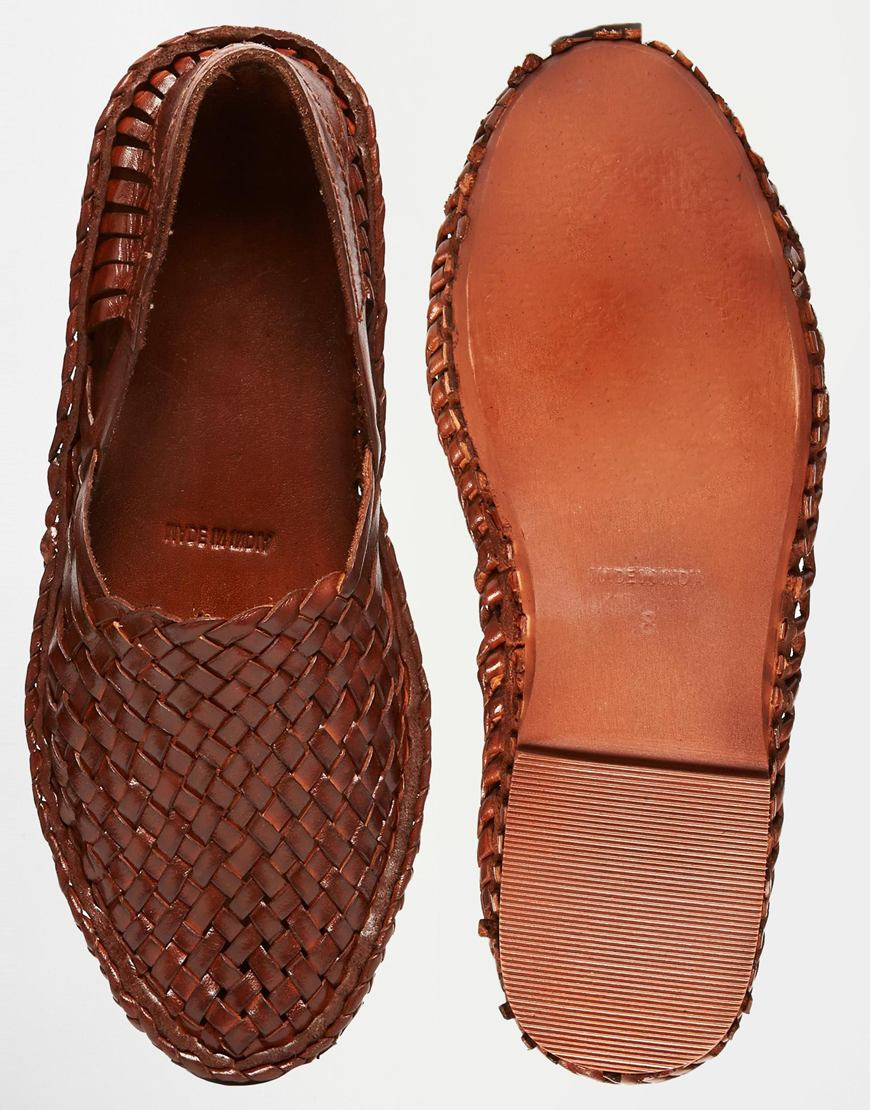 ASOS Woven Sandals In Leather in Tan