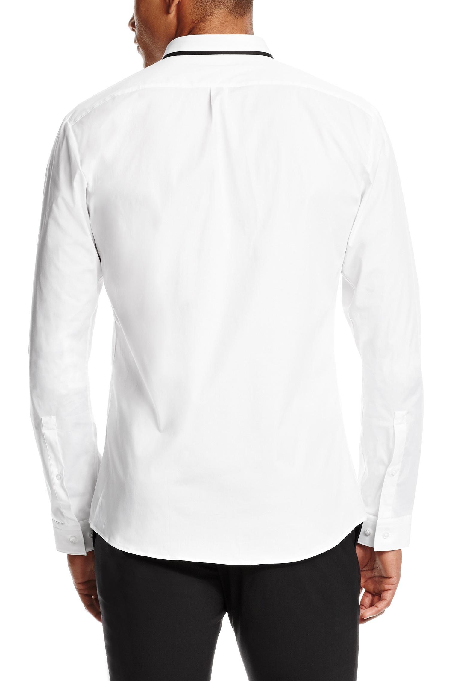 Hugo 39 eck 39 slim fit stretch cotton button down shirt in for Slim fit white button down shirt