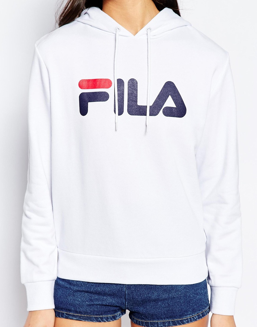 Lyst - Fila Oversized Pull Over Hoodie With Large Logo in White 40627bcce