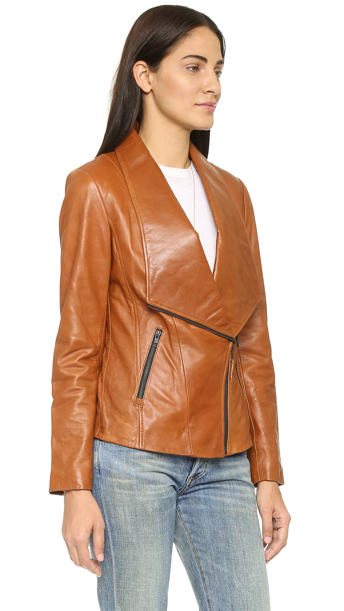 Soia & kyo Nerissa Leather Jacket - Camel in Brown | Lyst