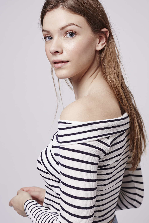 bdf91516436 TOPSHOP Petite Bardot Stripe Top in Blue - Lyst