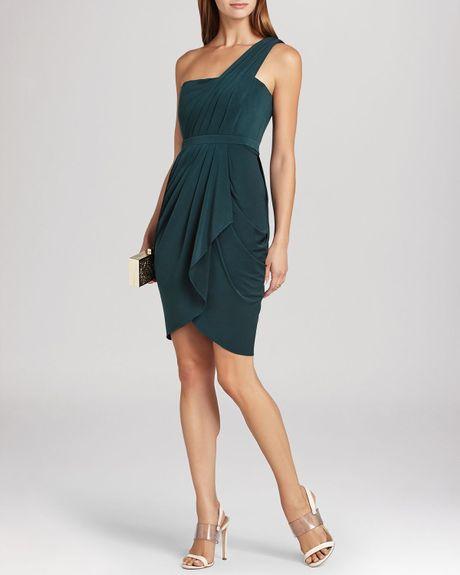 Bcbgmaxazria Stelah Draped Sheath Dress: Julieta One Shoulder Cascade Ruffle