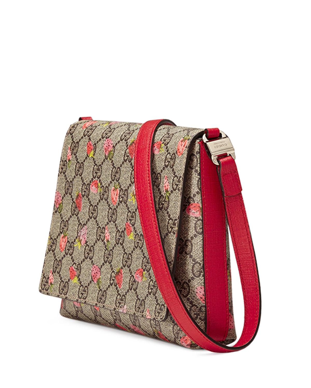 8758300531db Gucci Girls' Strawberry-print Gg Supreme Canvas Messenger Bag in ...