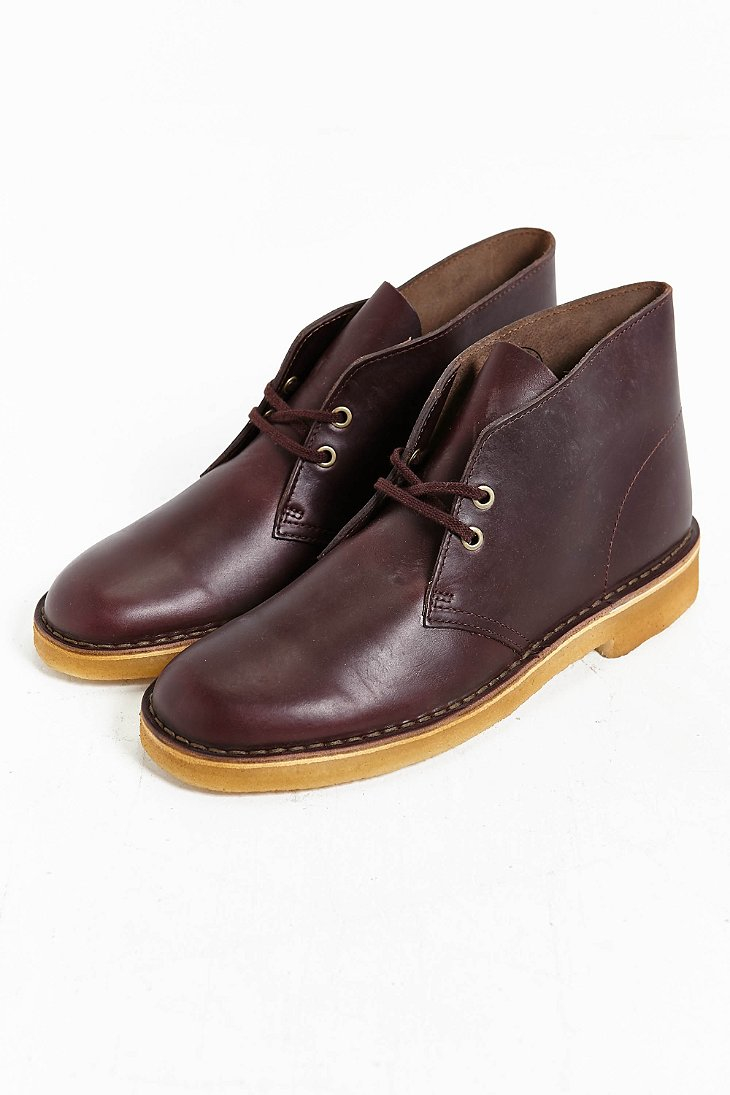 Clarks X Horween Leather Company Desert Boot In Maroon