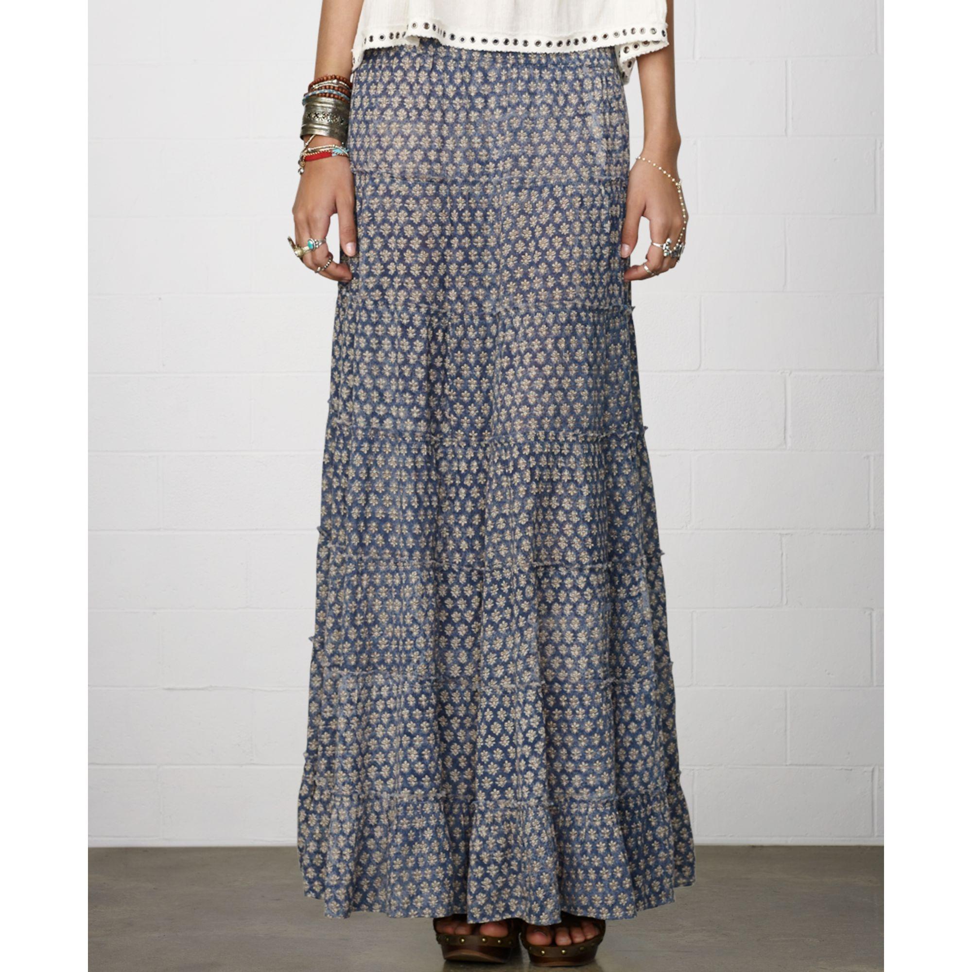 denim supply ralph tiered floralprint maxi skirt